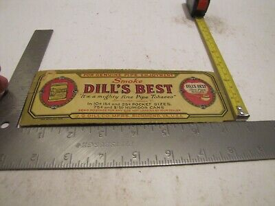 VINTAGE PIPE Dill's Best Rubbed Richmond Va Smoking Tobacco