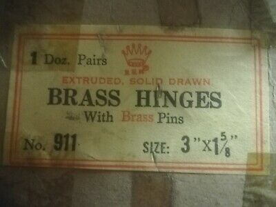"Vintage Solid Drawn Brass Butt hinges 3"" x 1 5/8"" with brass pin"