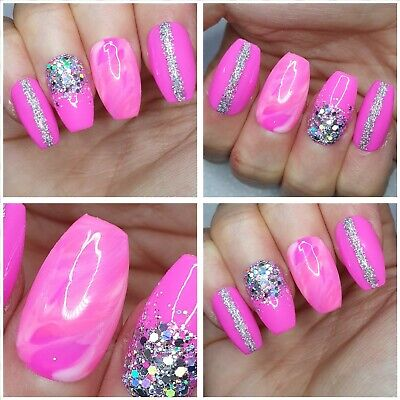New!Hot Pink, Silver Holo, Marble MEDIUM COFFIN X 20 PRESS ON NAILS