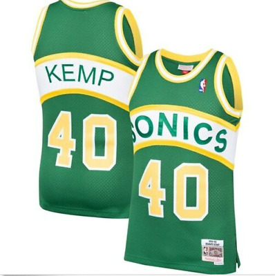 M /& N NBA Seattle SuperSonics Shawn Kemp #40 Road HWC Swingman Jersey 1994-95