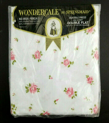 Vintage NOS Wondercale by Springmaid Pink/White Flower Double Flat Sheet bt