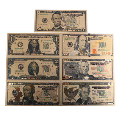 7Pc/Set Commemorative Gold Foil Usa Dollars Paper Money Banknotes Collection F*