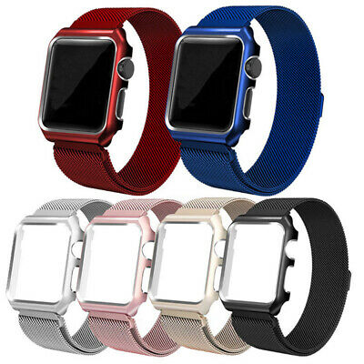 Magnetic Milanese Loop Watch Band+ frame For Apple Watch Series 4 3 2 1 40/44mm