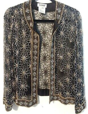 MARK & JOHN BY GOPAL Women Jacket Gold Floral Metal Beading On Black Nylon Body