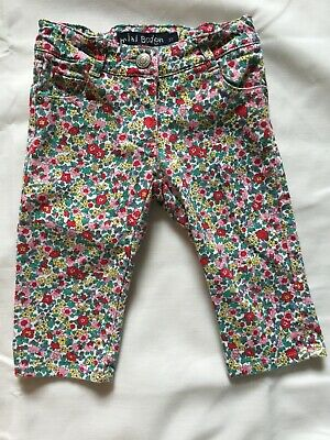 Mini Boden Capri Cropped Pants Girls Sz 3 Yell Red White Floral Adjustable Waist
