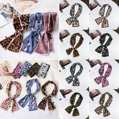 Wristband Neck Tie Neckerchief  Women Small Scarf Silk Feel Satin Leopard Print