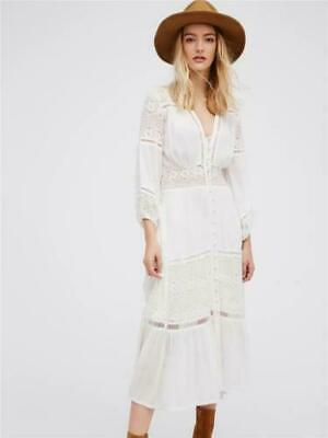 Retero 70s Deep V Sheer White GAUZE Goddess Maxi Boho LACE Hippie Prairie Dress