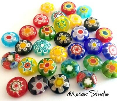 Millefiori Glass Rounds - Mixed x 35pc