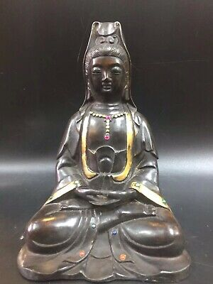 Chinese Old copper hand-set gemstone Tibetan Buddha Guanyin