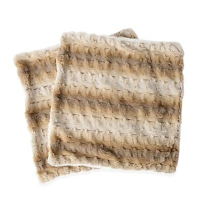 Ombre and Reversible Microfiber Plush Striped Sherpa Faux Fur Cushion Covers