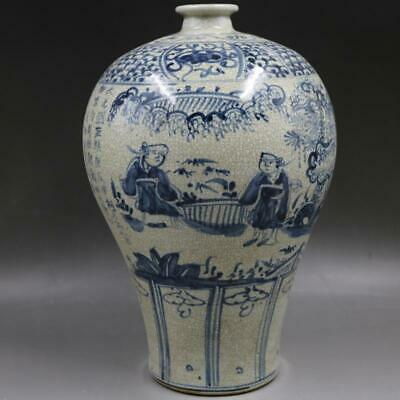 Chinese ancient antique hand make Blue and white  people  matter  Story vase w2