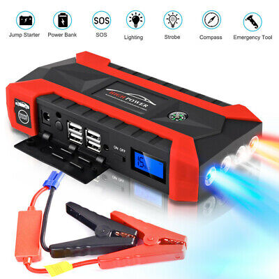 89800mAh LCD 4 USB Car Jump Starter Pack Booster Charger Battery Power Bank  ~EU