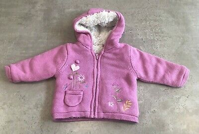 Mothercare Baby Girls Pink Floral Thick Knit Warm Hooded Cardigan UK 0-3 Months