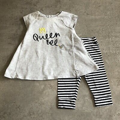 Mothercare Baby Girls Grey Black White Stripe Top Leggings Outfit UK 0-3 Months