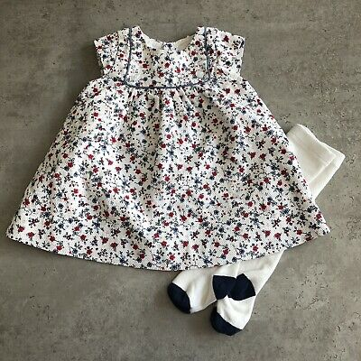 Mothercare Baby Girls White Navy Blue Red Floral Dress Tights Set UK 0-3 Months