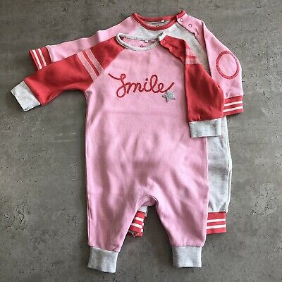 Next Baby Girls Pink Red Grey Varsity Style 2 Piece Set Sleepsuits UK 0-3 Months