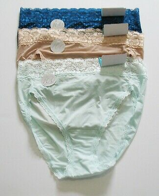 Plusform Side Lace Nylon Panty Briefs 3 Pairs Size 8