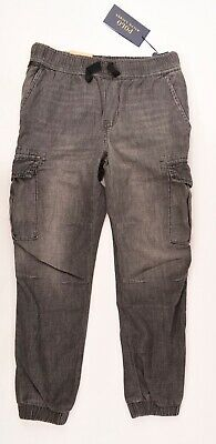 POLO RALPH LAUREN Boys' Cuffed Cargo Pants, Washed Grey, size 8 years