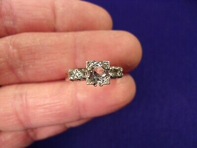 Excellent Rare Vtg Antique Sterling Silver & Gold Filled Art Deco Wedding Ring