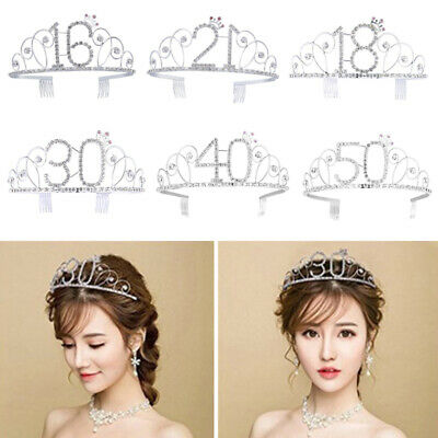 Women Tiara Rhinestone Crystal Princess Hair Wear Head Band Birthday Gift Crown