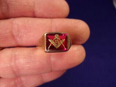 Rare Old Vtg Antique Victorian Era? 10K Rose Gold Masonic Compass Ring, Red Ruby