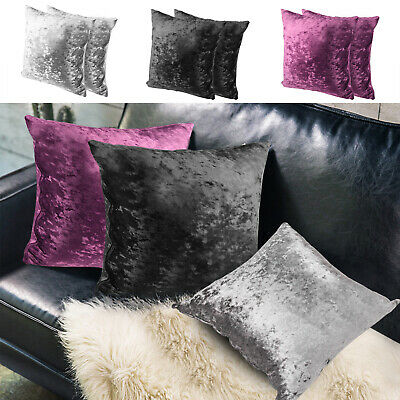 2x Crushed Velvet Scatter Covers Pillow Case Sofa Cushion Cover Home Decor Ace