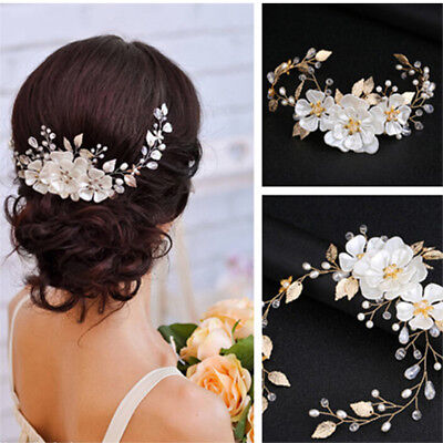 Women bridal white flower rhinestone pearl hair clip wedding hair accessories Z_