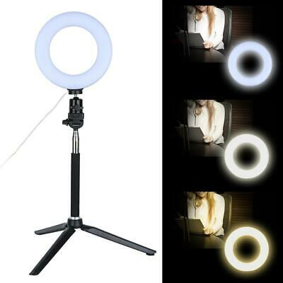 6 Inch Ring Light Dimmable LED Fill Light w/ Stand for Video Camera Makeup UK