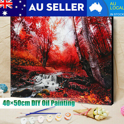 40×50cm DIY Paint By Number Kit Forest Scenery Oil Painting Canvas Home Wall AU
