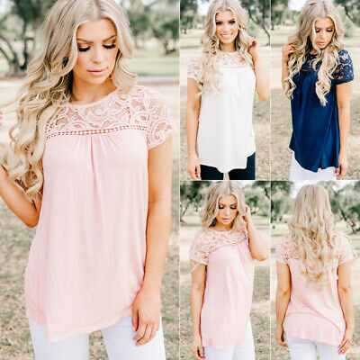 CA STOCK Women Short Sleeve Lace T Shirts Ladies Summer Casual Blouse Tops Shirt