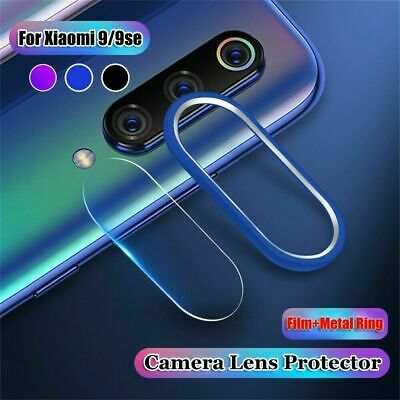 For Xiaomi Mi 9/9SE Camera Lens Tempered Glass Film Protector & Metal Ring Case