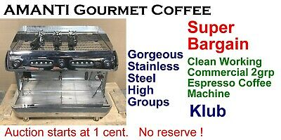 SUPER BARGAIN Clean Working High 2grp Commercial Espresso Coffee Machine +AMANTI