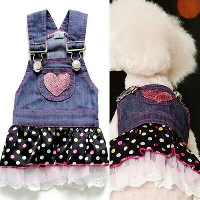 Small Large Pet Dog Dress Cat Strap Skirt Cute Dot Puppy Clothes Apparels XS-XL
