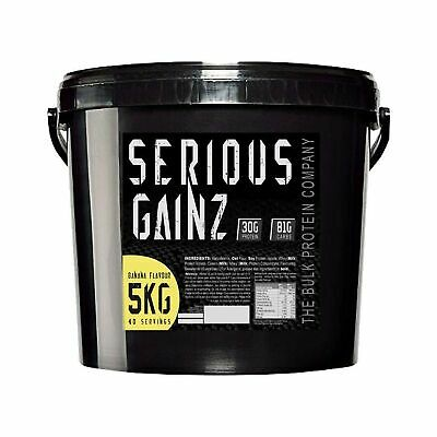 The Bulk Protein Company Serious Gainz Mass Gainer Powder, Banana, 5 kg