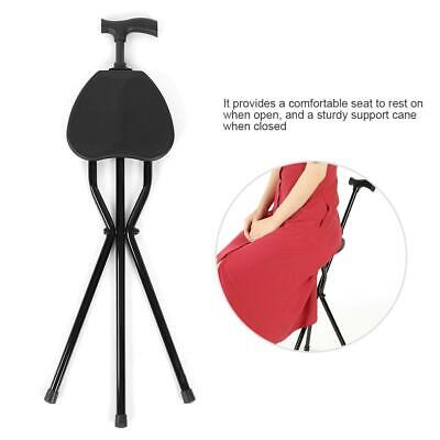 Foldable Crutch with Seat 3 Legs Handle Cane Walking Stick for Elderly New