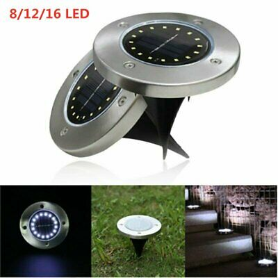New LED Solar Disk Lights Ground Buried Garden Lawn Deck Path Outdoor Waterproof