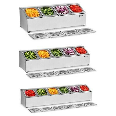 Gastronorm Condiment Holders With 4-6 Gn Gastro Containers Lids Stainless Steel