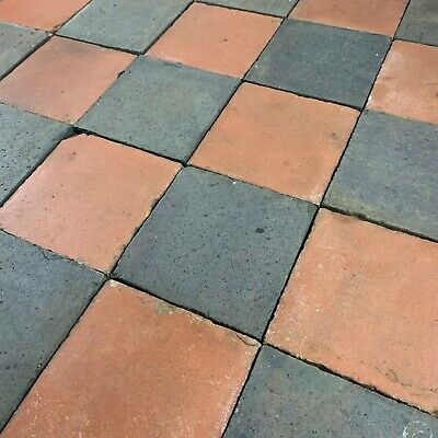 1 SqM of Reclaimed Victorian Red and Blue/Black 6x6 Inch Quarry Tiles