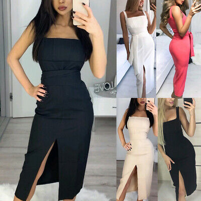 Women Summer Midi Dress Sexy Suspenders Front Slit Dresses Elegant Belted Slim