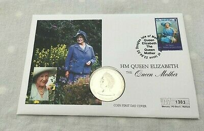 2002 Mercury Isle of Man Coin Cover £5 Guersney Coin The Queen Mother  FDC217