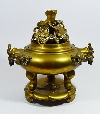 Large Antique Chinese Heavy 3.5 Kg Bronze Censer Tripod Incense Signed Seal