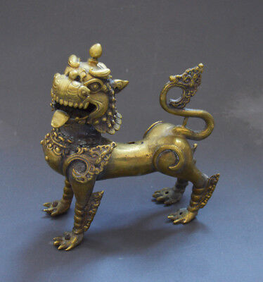 A Large Antique Chinese Buddhist Lion Bronze Qing Dynasty