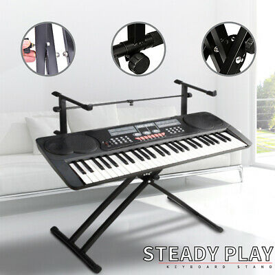 Adjustable Double Braced Music Keyboard Stand X Type Stool Foldable Piano Holder