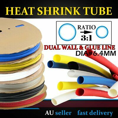 6.4mm Heat Shrink Heatshrink Tubing 3:1 Dual Wall Glued Non-corrosive Insulation