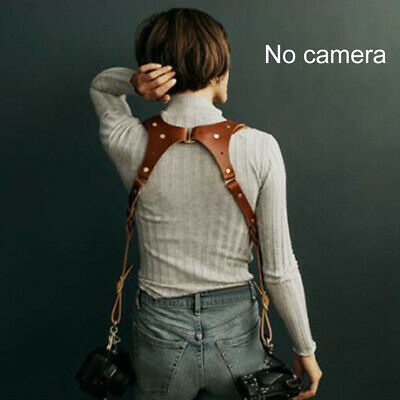 Dual Multi Camera Brown Leather Harness Shoulder Strap Made By Hand
