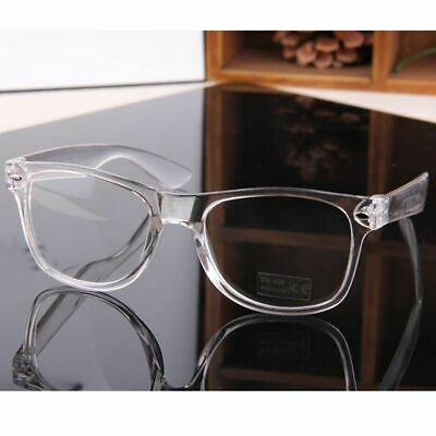 Crystal Clear Frame Eyeglasses Square Eye Spectacle Clear Lens Fake Glasses Home