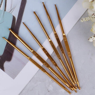 6pcs Golden Aluminum Double End Crochet Hook 2.0 - 7.0mm VU