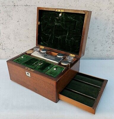 Vtg c1870 Victorian Mahogany Vanity Jewellery Cabinet Case Box & Glass Jars
