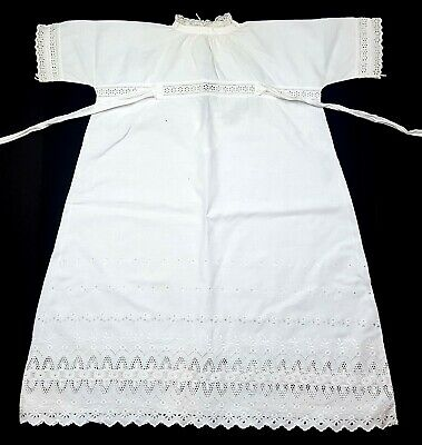 ANTIQUE VICTORIAN GIRLS SUMMER DRESS - CIRCA 1890's - WHITE FLORAL LACE