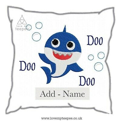 Baby Shark Doo Kids Handmade Cushion Cover Personalised - Add Name  Colours